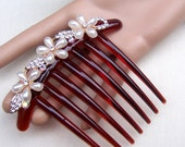 French Twist hair comb rhinestone faux pearl hair accessory hair jewelry decorative comb headpiece headdress