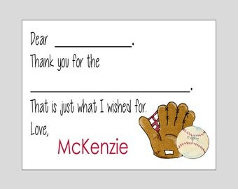 Baseball Fill In Cards ~ Personalized Thank You Notes