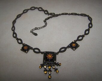Enamel Monet Panel Necklace