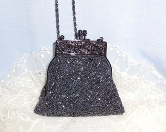 Glamorous & Glitzy Heavily Beaded Vintage Evening Bag Purse by Elani