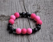 Children's Diffuser Bracelet - Rubber Coated Bead Stretch Bracelet - Lava Bead Diffuser