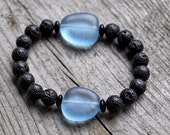 Diffuser Bracelet with Diffusing Lava Beads, Sea Glass and Natural Healing Stones