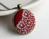 Red Pendant Necklace, Red Boho Jewelry, Victorian Lace Necklace, Unique Gift For Women, Wife, Bridesmaid, Red and White