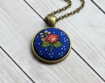 Small Blue Pendant, Retro Jewelry, Boho, Cute Cobalt Blue Necklace, Polka Dot Jewelry, Vintage Floral Fabric Necklace, Coral, Red, Tiny