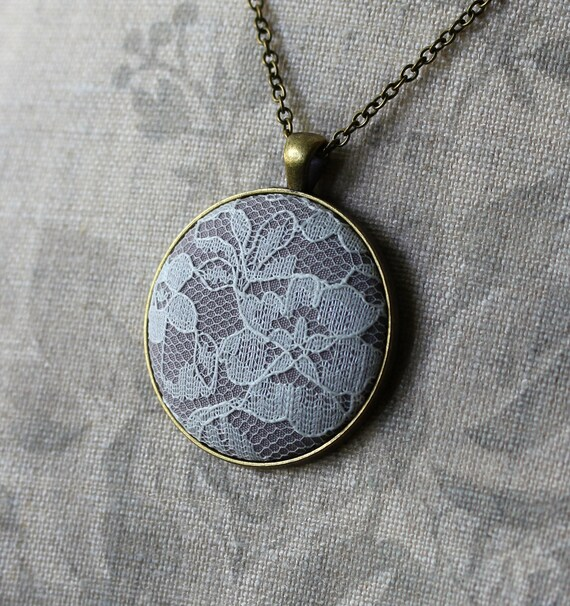 Beige Lace Pendant, Gray Necklace, Gray Wedding Set, Neutral Women's Unique Jewelry, Gray Bridesmaid Necklaces, Gold, Art Nouveau Wedding