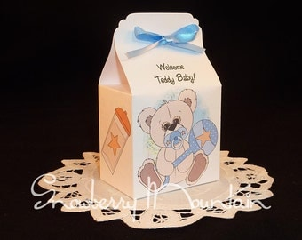 Teddy Bear Baby Boy - Baby Shower Favor Box Kits - Blue - Set of 12