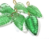 Green Glass Leaf Drops Charms Dangles GREEN Glass Leaves Six (6) Large Glass Molded Leaf Charms Drops Jewelry Supplies Glass Leaves (D128)