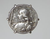 french brooch Joan of Arc brooch french silver coin brooch Jean d'Arc