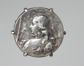 french Joan of Arc brooch silver coin brooch Jean d'Arc