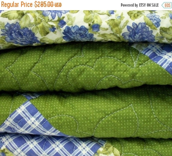 CIJ SALE Blue Green Quilt Roses Periwinkle Blue Moss Green Quilted Quiltsy Handmade FREE U.S. Shipping