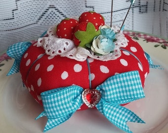 Round Strawberry Red Polka Dot Fabric Pin Cushion