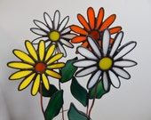 Custom Order Reserved for Leah Stained Glass Flower Pot Sticker/Garden Stake Set of Four