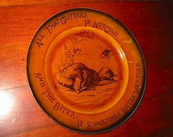 Antique Arts & Crafts Motto Plate Old English Transfer Ware Dish Butterfly Bee