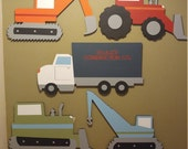 Custom Boys Construction Vehicle Wall Decor Set - Boys Truck Decor - Custom Boys Name Sign and Construction Decor Set