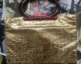 Vintage Ladys Pride Gold Metallic Mock Croc Expandable Tote with Top Handles