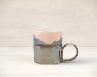 Contemporary landscape mug in pink, blue and metallic silver.  Handmade porcelain mug.