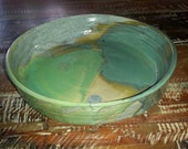 Vintage large round handmade hand thrown pottery bowl turquoise aqua blue green