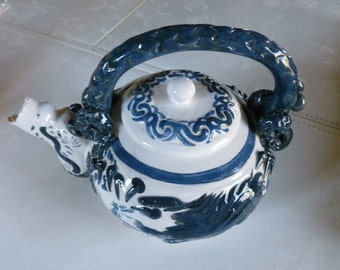 Vintage Oriental Chinese Dragon Teapot Clay Blue and White