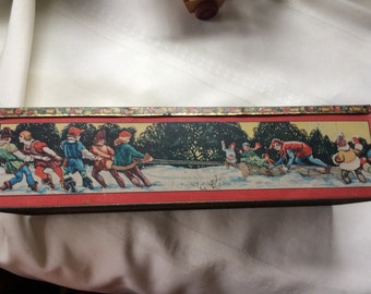 SALE!! Was 58.99 Now 38.99 Antique Tindeco Christmas Candy Tin 1920s