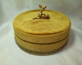 1960s Made In ITLAY Gold Velvet Jewelry Trinket Box with Gold Deer On Top.