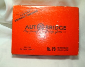 1959 Deluxe Pocket Model Auto Bridge Play Yourself Bridge Game.