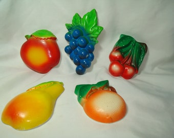1960s Chalk Ware Group Of Colorful Fruit Apple Peach Pear Grapes and Cherries.