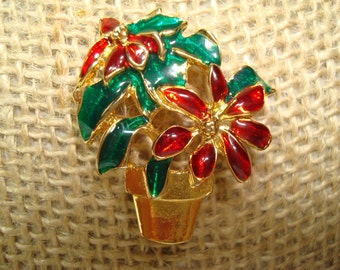 1992 Poinsettia Christmas Pin.