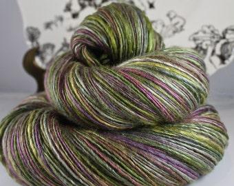 Handspun Yarn Gently Thick and Thin Single Mulberry Silk and Superfine Merino 'Grawk Fledge' Blue Moon Fiber Arts