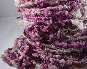 Handspun Art Yarn Corespun Fleecespun Sheeping Beauties 'Winewood' OOAK