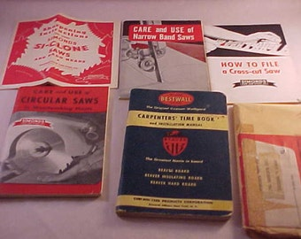 1938 Carpenters Time Book and Instruction Manual 1960s Tool Care Booklets