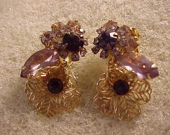 Clip On Earrings Amethyst Rhinestones