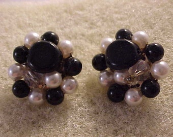 Cluster Bead Clip On Earrings Black and White Beads