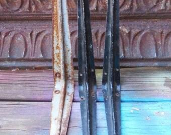 3 Vintage Brackets metal Rusty crusty painted black Supplies