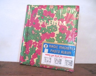 1960s photo album, deadstock, never used - green, magenta + gold flowers - vintage guest book,  scrap book, keepsake - factory sealed