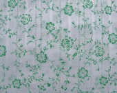 2 Yards Green Floral Dimity Cotton Fabric