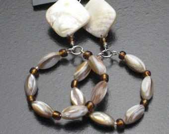 Shell Dangle Hoop Earrings
