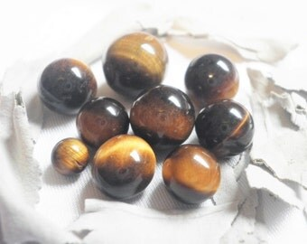 Tiny TIGERS EYE SPHERES-A Variety Pack of 8 assorted Size Spheres -Ranging from 6-12 mm in size-If You Love Miniatures, You'll Love These