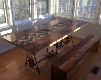 reclaimed wood table with antique machine base and herring bone inlay free shipping barn wood. beautiful ideas. Home Design Ideas
