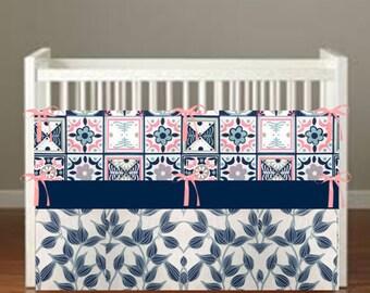 Tulips on blue Crib Bedding - Nursery Decor 3 Piece Set bumper, skirt, sheet, - Choose Your fabrics