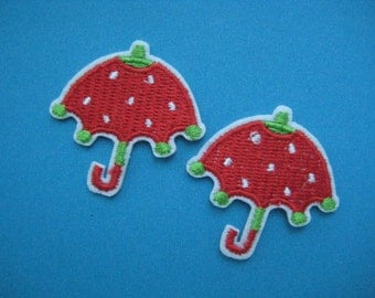 Clearance~ 12 pcs Iron-on Embroidered applique Strawberry Umbrella 1.5 inch