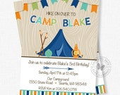 Camping Birthday Invitation, Boy Birthday Invitation, Nature Party Invitation, Hiking Birthday Invitation, Camping Invitation
