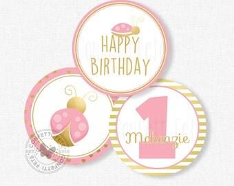 "Ladybug Centerpiece Circles, Pink and Gold Birthday Decorations, Pink Ladybug Table Decor, Printable 4"" Party Circles"