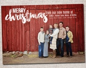 "Photo Christmas Card, New Address Card: PRINTABLE (""Merry Christmas from our new home""  We Moved Christmas card)"