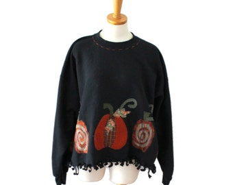 Vintage 90s Halloween Sweatshirt, Pumpkins Women XL, cropped fit, handmade design