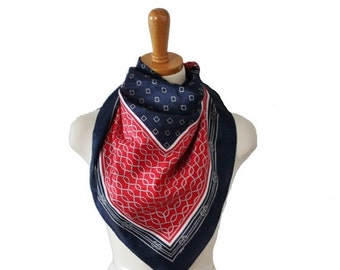 50% half off sale // Vintage 70s Large Blue Red White Fashion Scarf - Rope Pattern - Nautical
