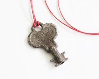 50% half off sale // Vintage MILLER Made in USA Mini Skeleton Key Upcycled Necklace on Waxed Red Cord