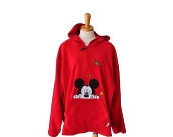 30% off sale // Vintage 90s Mickey Unlimited Fleece Pullover Jacket - Woman 26W, plus size vintage
