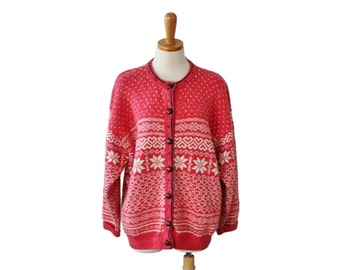 Vintage 80s Nordic Wool Blend Cardigan Sweater - Women L, Northern Reflections snowflakes