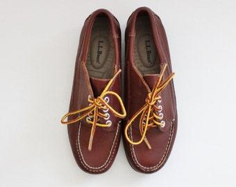 Vintage 90s LL Bean Boat Shoes // Rich Brown Leather // Women 7.5M