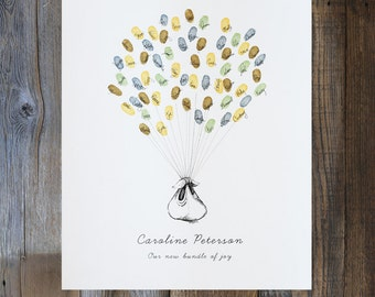 Bundle of Joy Balloon, the original guest book thumbprint baby balloon (ink pads available separately)